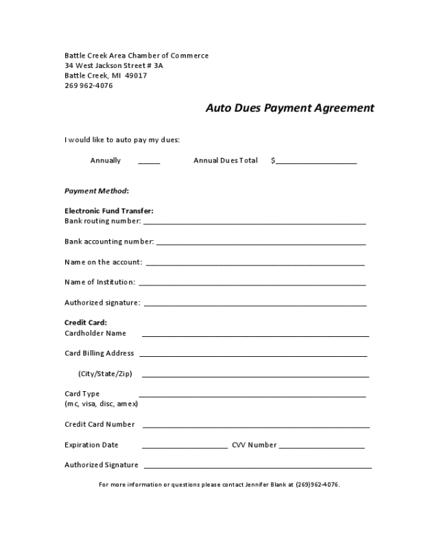 2019 Car Payment Agreement Form Fillable Printable Pdf Forms