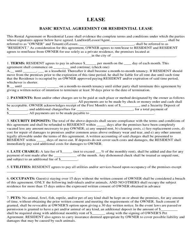 2018 Residential Lease Agreement Fillable Printable Pdf Forms