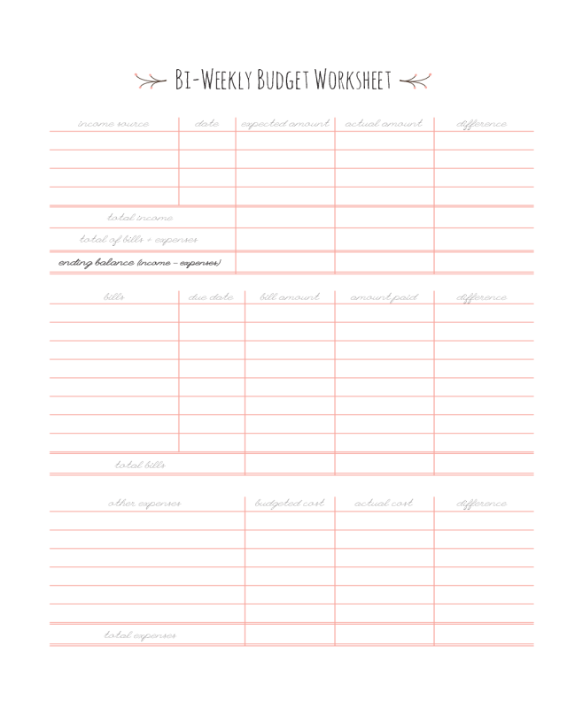 image about Bi Weekly Paycheck Budget Printable named 2019 Bi-Weekly Spending budget Template - Fillable, Printable PDF