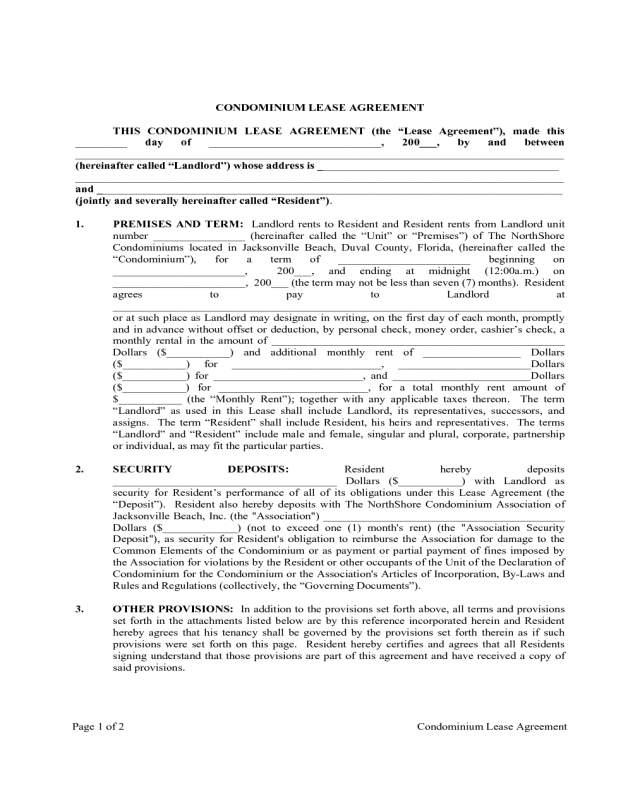 2018 Condo Lease Agreement Fillable Printable Pdf Forms Handypdf
