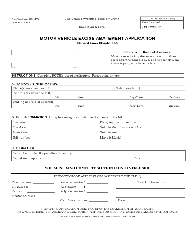 ma motor vehicle excise tax abatement form