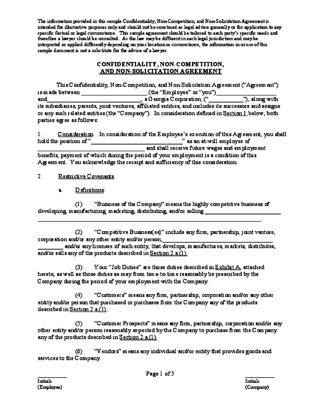 2018 Non Compete Agreement Form Fillable Printable Pdf Forms
