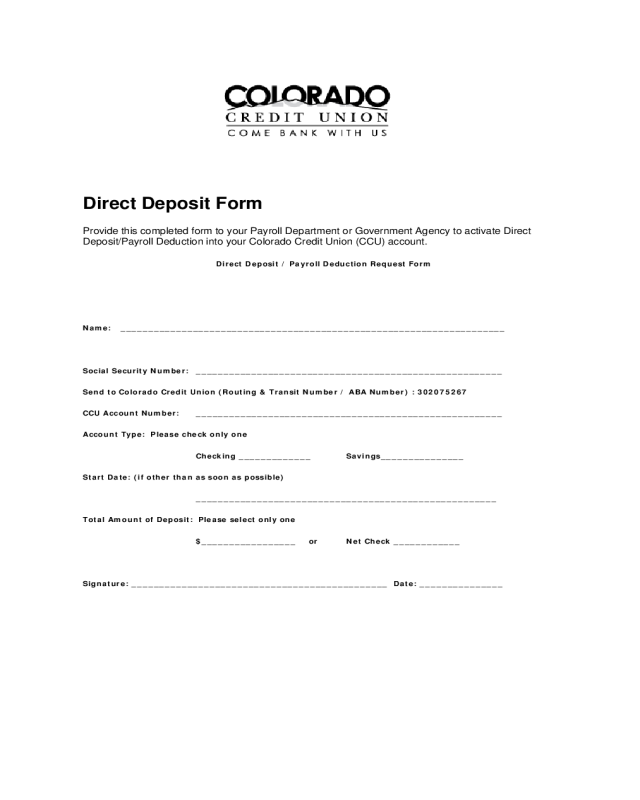 2018 Direct Deposit Form Fillable Printable Pdf Forms Handypdf