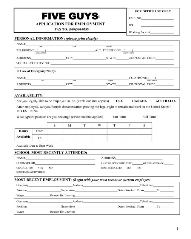 five-guys-application-form-page1 Job Application Form For Argos Download on part time, blank generic, free generic, sonic printable, big lots,