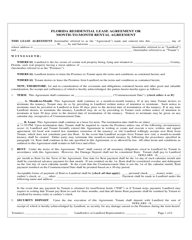 2018 Month To Month Rental Agreement Form Fillable Printable Pdf