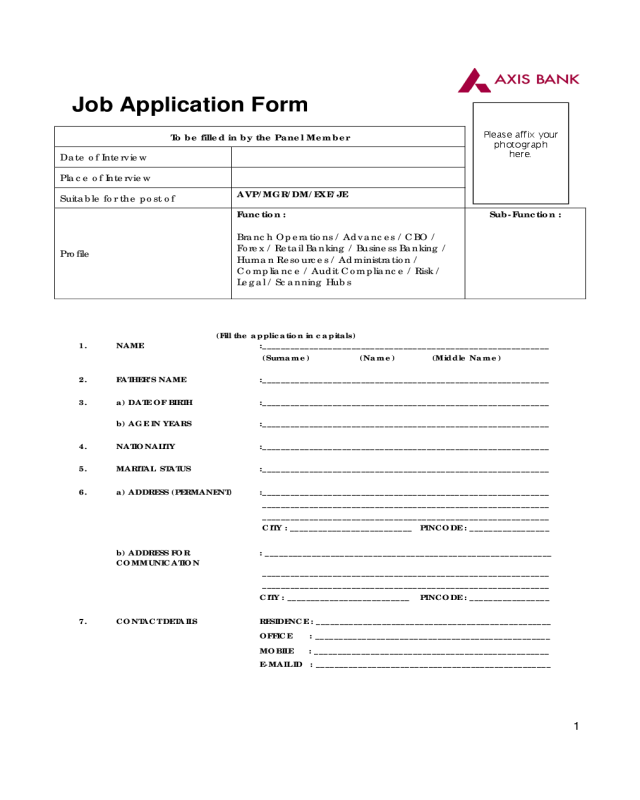Job Application Form Axis Bank, Job Application Form Axis Bank, Job Application Form Axis Bank