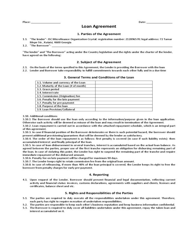 2018 Loan Agreement Form - Fillable, Printable PDF & Forms | Handypdf