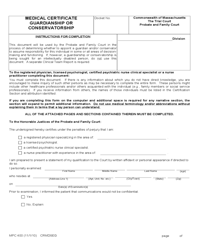Medical Certificate Guardianship Or Conservatorship Form Edit