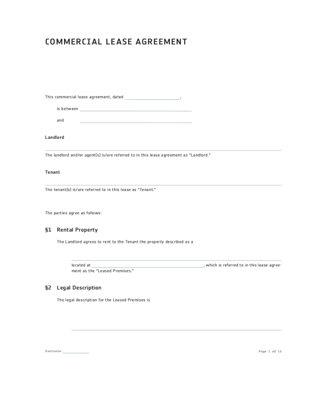 rental agreement form