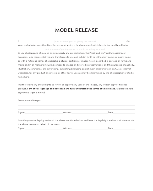 Model release template edit fill sign online handypdf for Standard model release form template