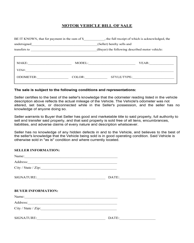 Motor vehicle bill of sale form florida edit fill for Tennessee motor vehicle bill of sale