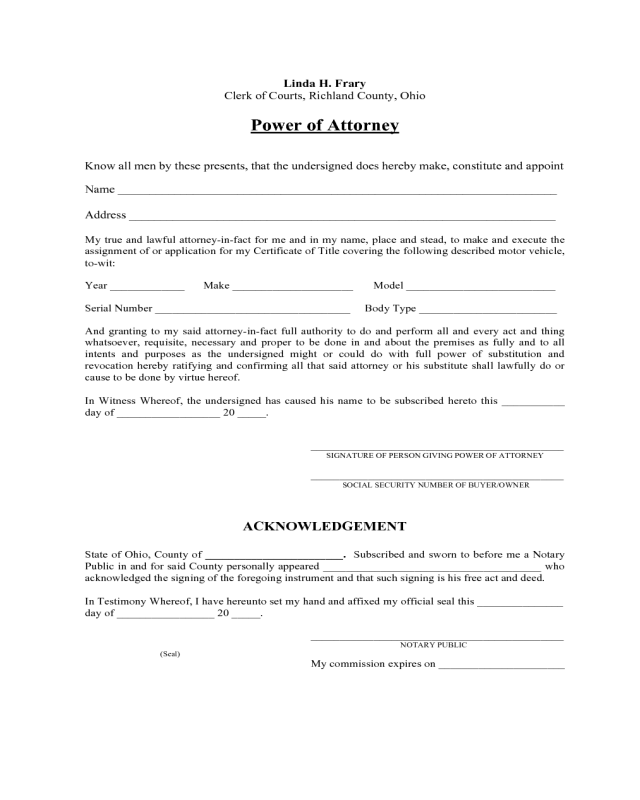 2018 Automobile Power Of Attorney Form Fillable Printable Pdf