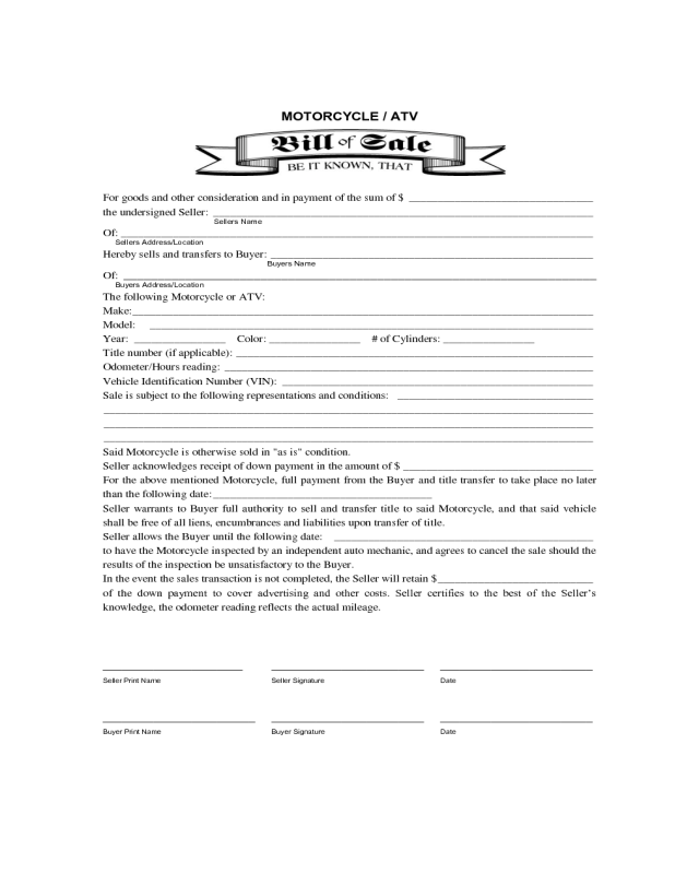 motorcycle or atv bill of sale form edit fill sign online handypdf