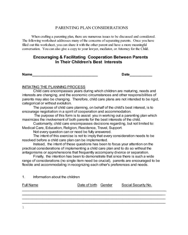 2018 parenting plan form fillable printable pdf forms for Long distance parenting plan template