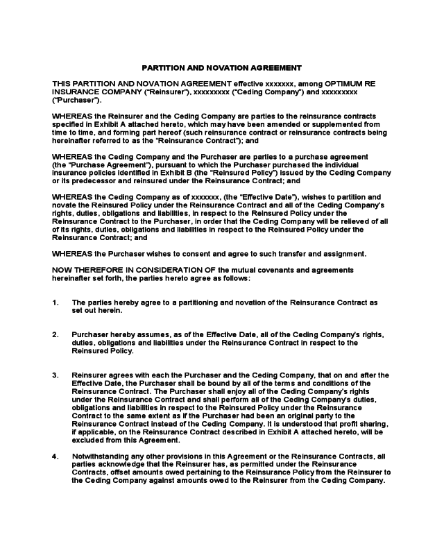 Party Wall Agreement Template >> 2019 Novation Agreement Template - Fillable, Printable PDF & Forms | Handypdf