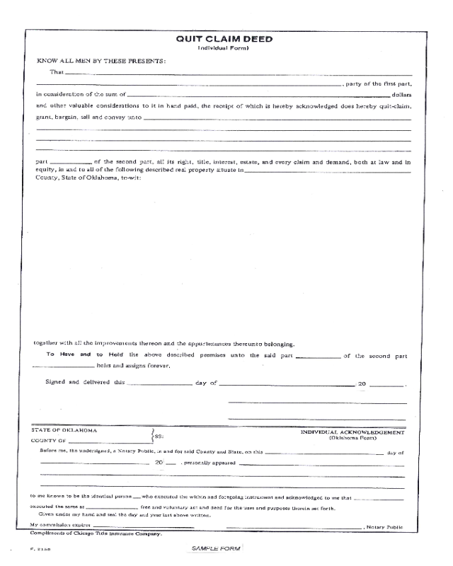 photo about Printable Quit Claim Deed named Cease Declare Deed Patient Kind - Oklahoma - Edit, Fill