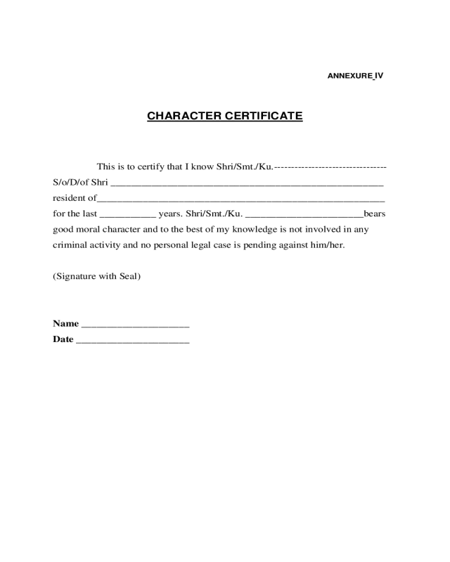 2018 character certificate form fillable printable pdf forms sample character certificate altavistaventures Image collections