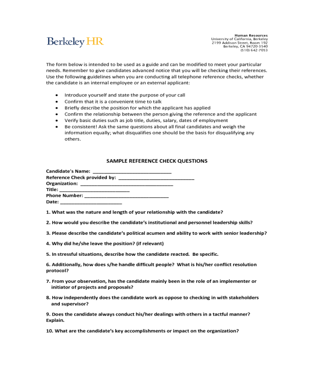 2019 Professional References Template - Fillable, Printable