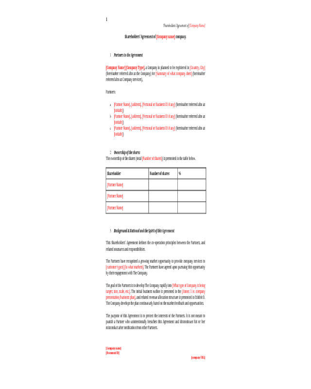 2018 Shareholder Agreement Fillable Printable Pdf Forms Handypdf