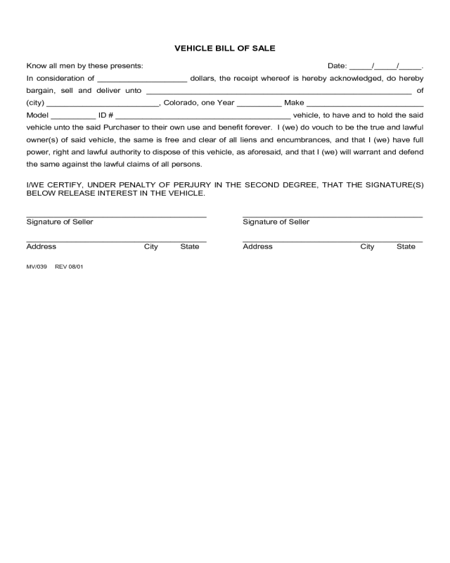 2019 Vehicle Bill Of Sale Form Fillable Printable Pdf
