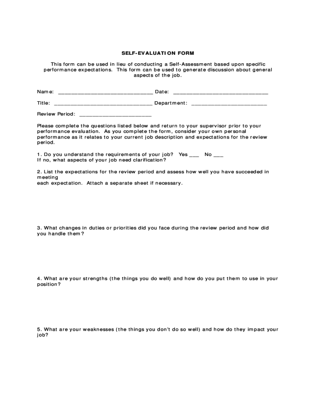 2018 Employee Self Evaluation Form - Fillable, Printable PDF & Forms ...