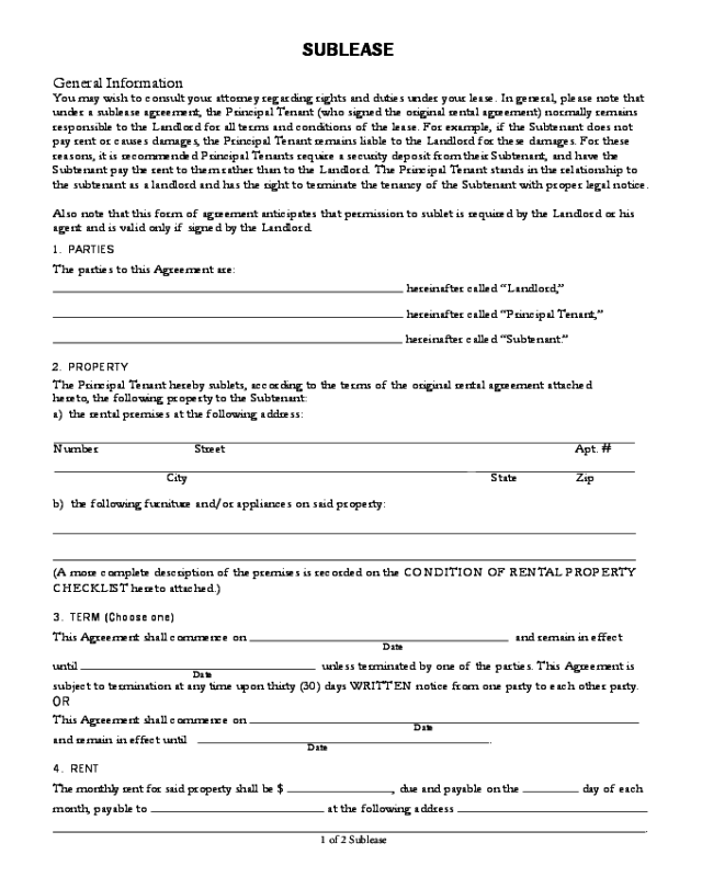 2019 Sublease Agreement Form