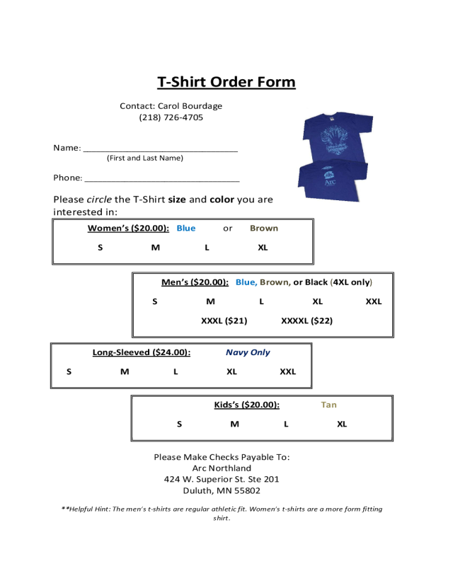 2019 T Shirt Order Form Fillable Printable Pdf Forms Handypdf