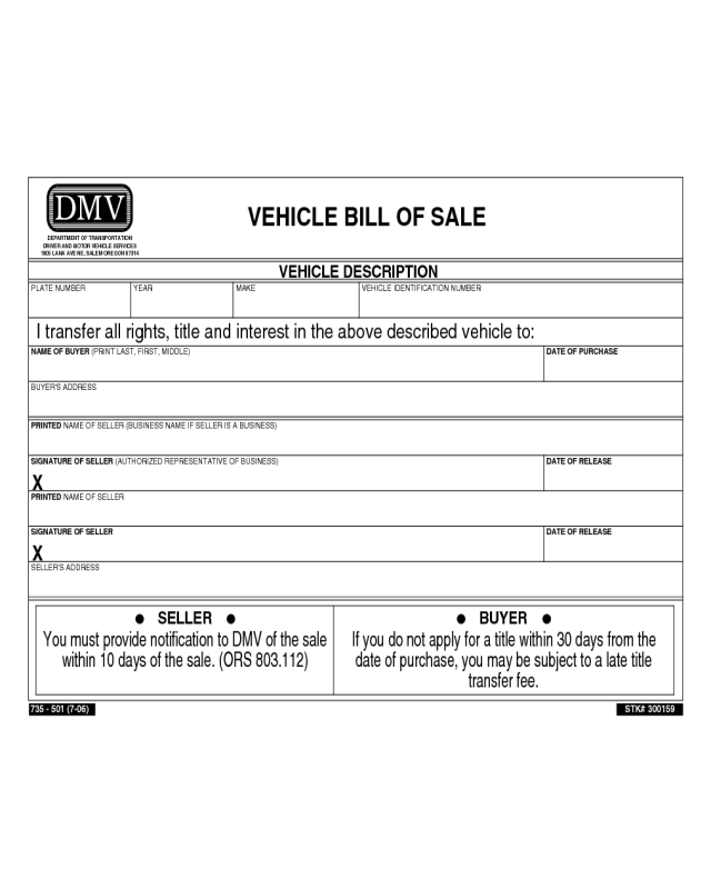 Vehicle bill of sale form oregon edit fill sign for Tennessee motor vehicle bill of sale