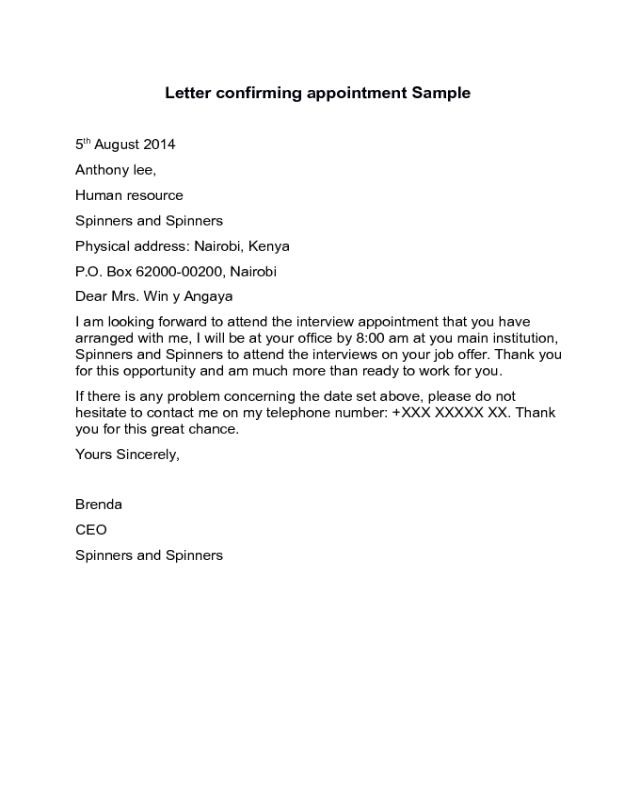 Confirmation of appointment letter sample edit fill sign online confirmation of appointment letter sample altavistaventures Images