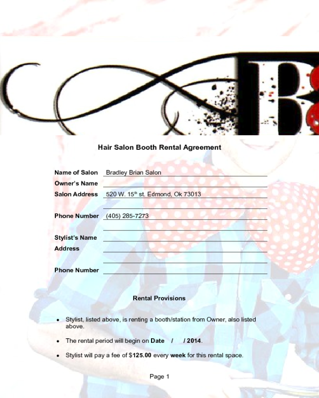 Hair Salon Booth Rental Agreement Edit Fill Sign Online Handypdf