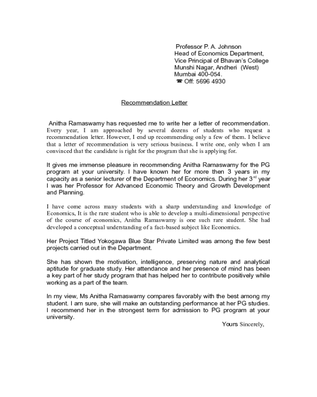 Recommendation Letter For Student From Professor from handypdf.com