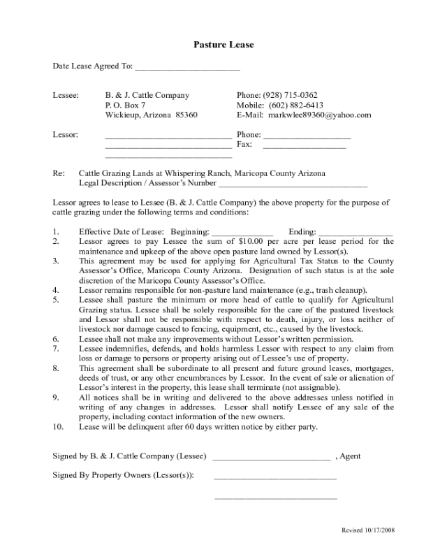 2019 Pasture Lease Agreement Fillable Printable Pdf Forms