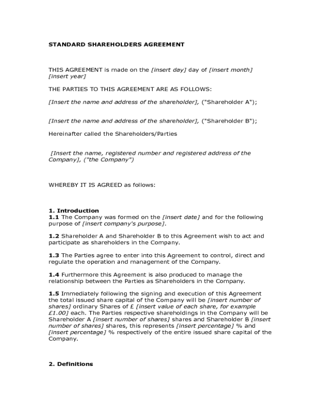 2018 shareholder agreement fillable printable pdf for Shareholder buyout agreement template