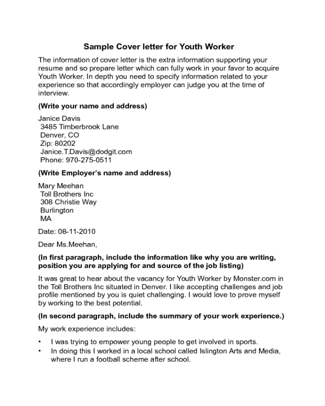 Youth worker cover letter sample edit fill sign online for Cover letter for youth worker position