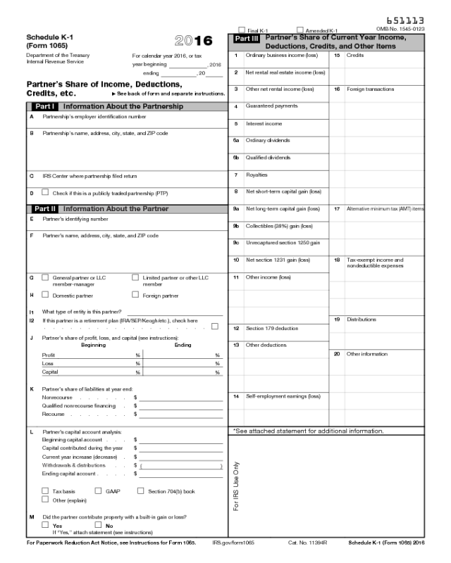 Form 1065 Schedule K-1 - Edit, Fill, Sign Online