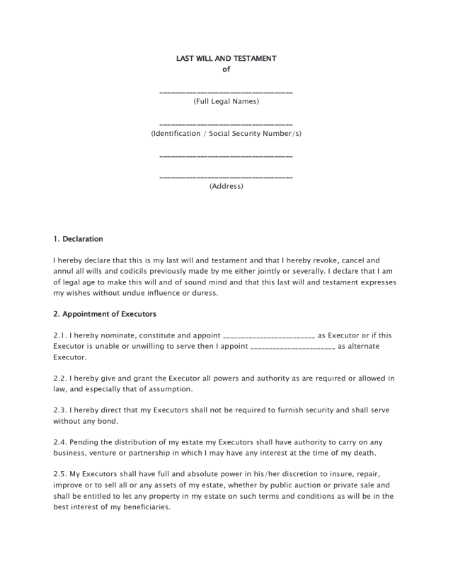 Last Will and Testament Form 05 - Edit, Fill, Sign Online | Handypdf