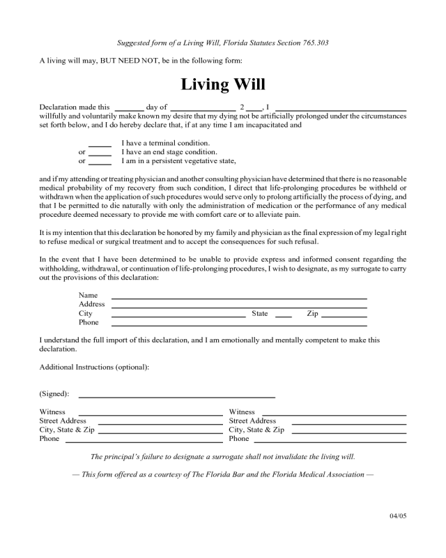 2017 Living Will Form - Fillable, Printable PDF & Forms | Handypdf