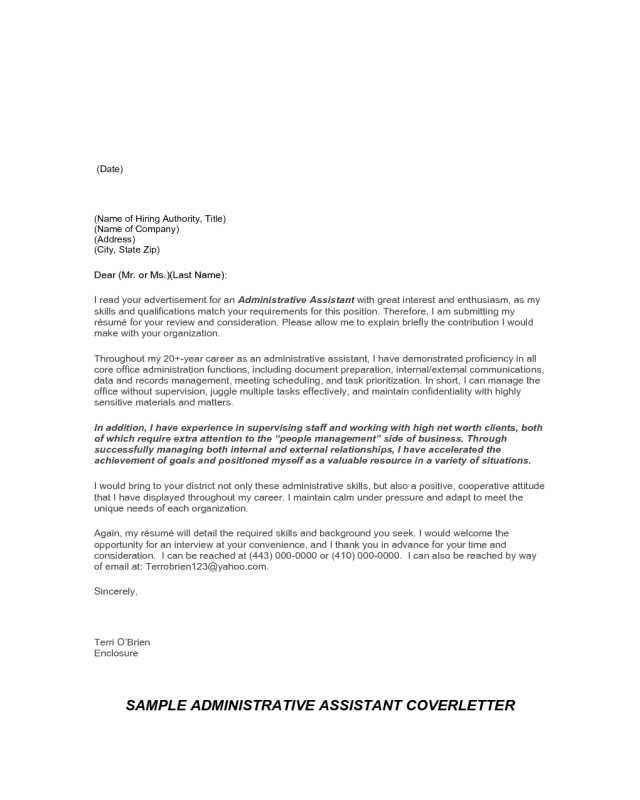 good cover letter for administrative assistant position
