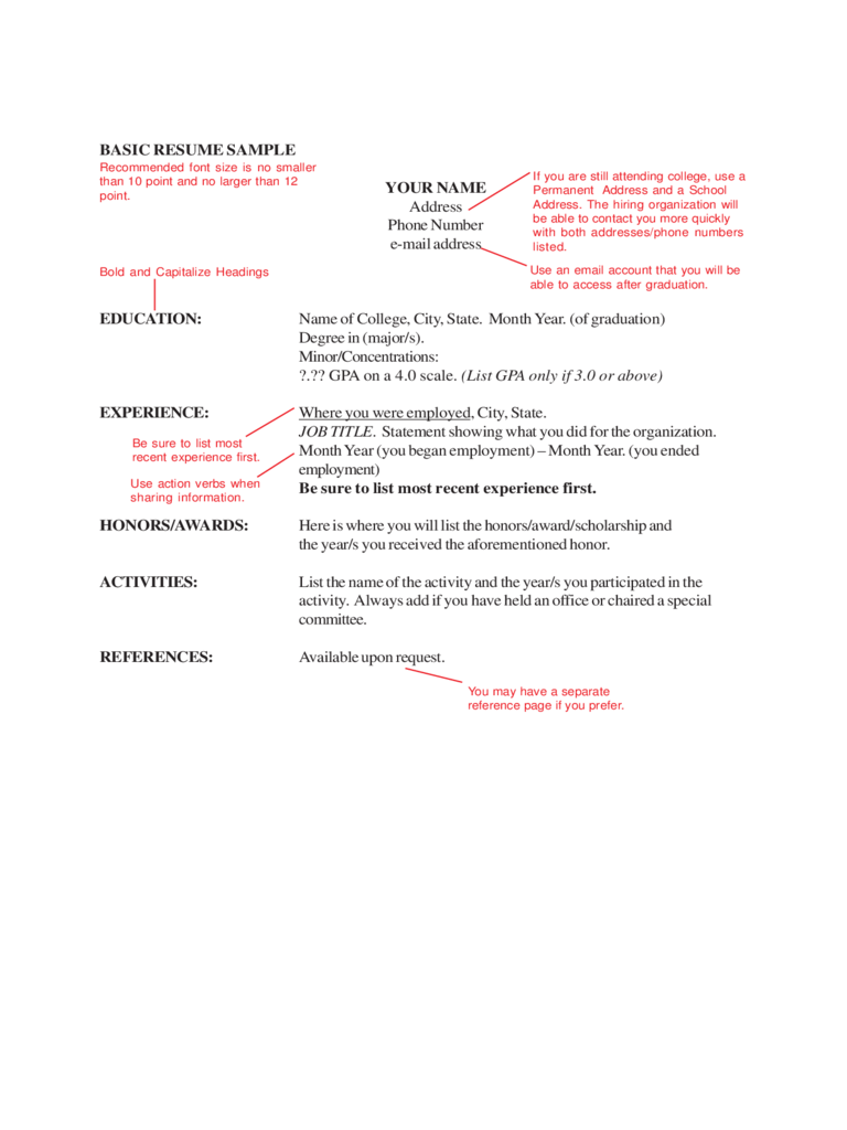 2018 Basic Resume Template Fillable Printable PDF Forms Handypdf