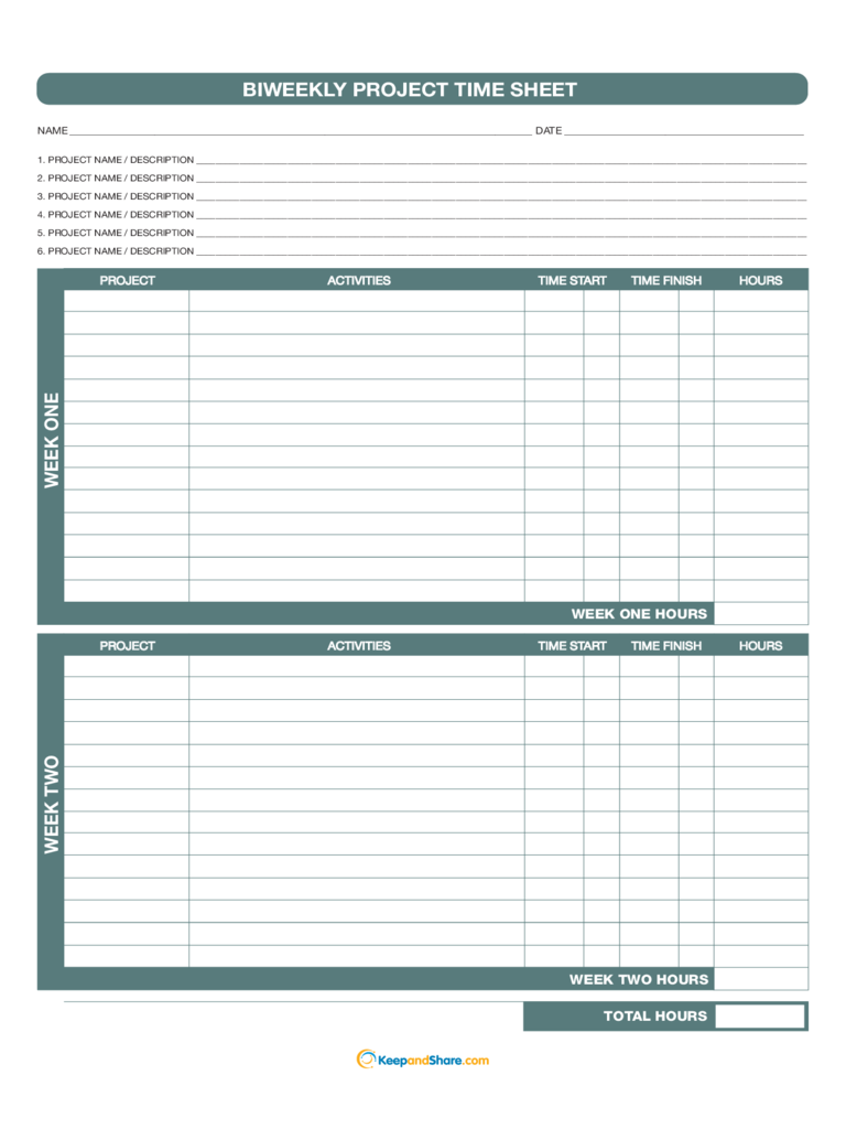 project timesheet template biweekly project time sheet