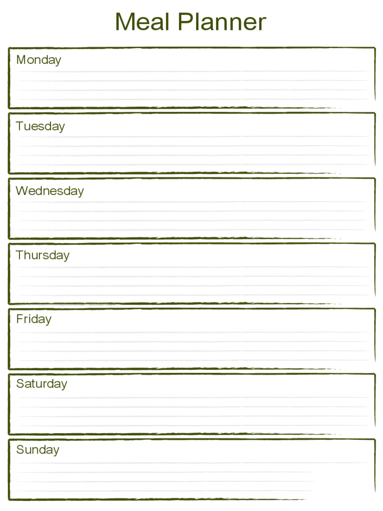 Blank Weekly Meal Planner Template  Menu Planner Template Printable