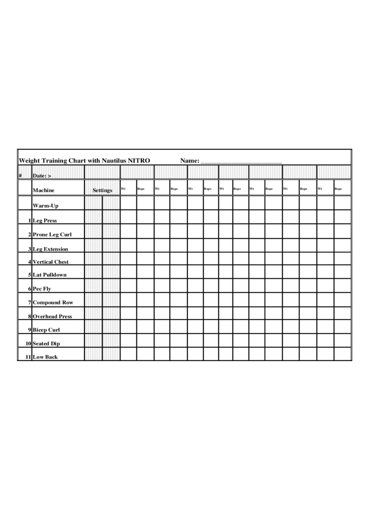 blank workout chart template