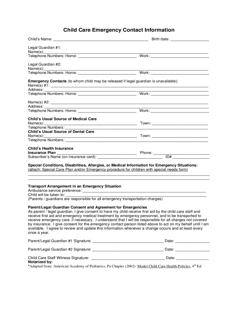 emergency contact form template for child 2018 child care emergency contact form fillable