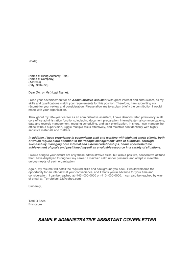 cover letter email administrative assistant