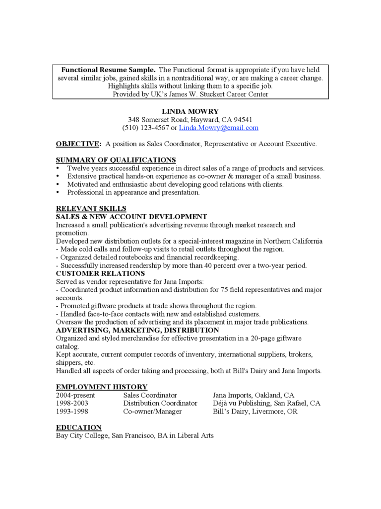 Functional Resume Sample Edit Fill Sign Online Handypdf