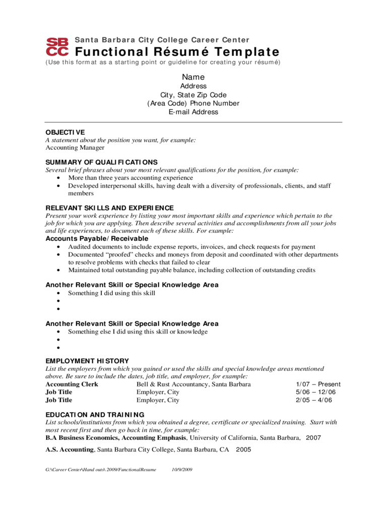 2020 Functional Resume Template Fillable Printable Pdf