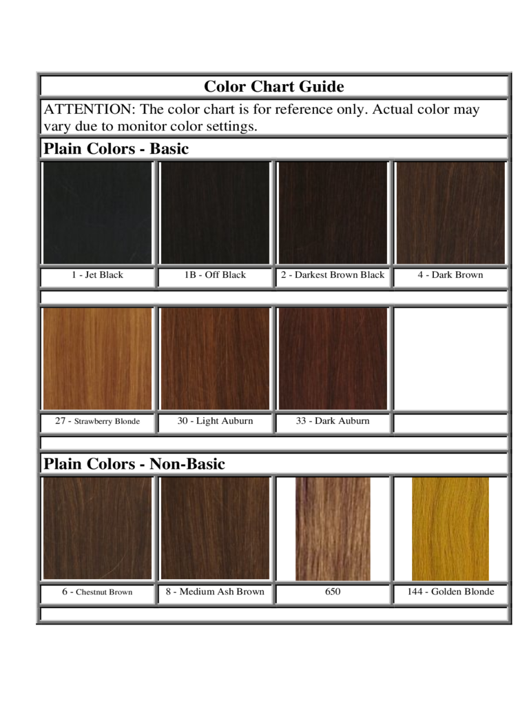 2018 Hair Color Chart Template Fillable Printable Pdf Forms