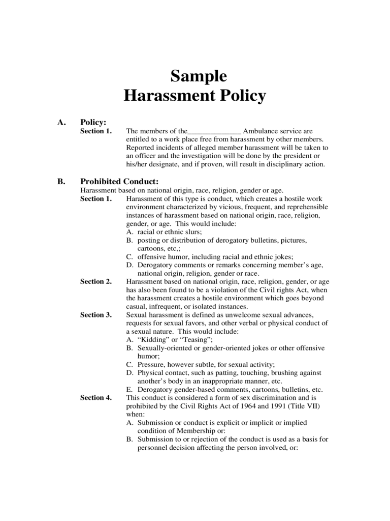 86 sexual harassment policy template sample equal opportunities
