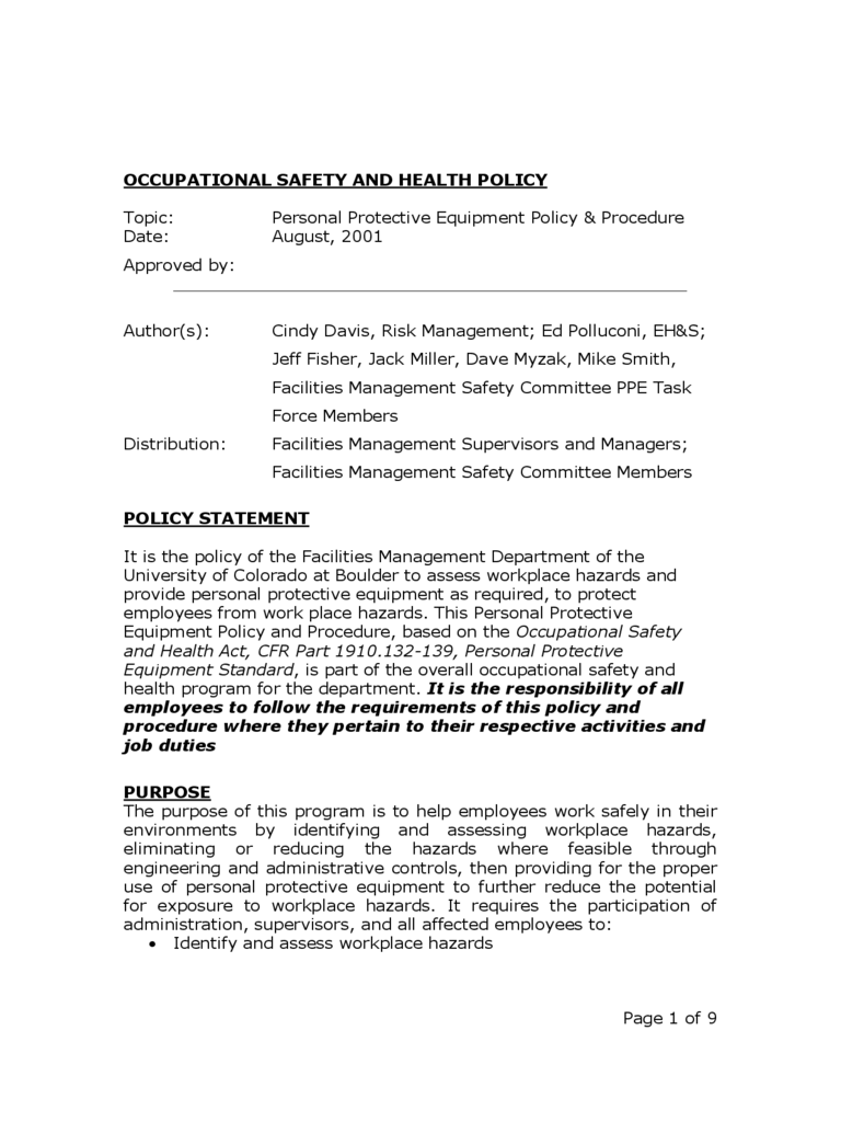 Hse Health And Safety Policy Template 2018 Policy Template Fillable Printable PDF Forms Handypdf
