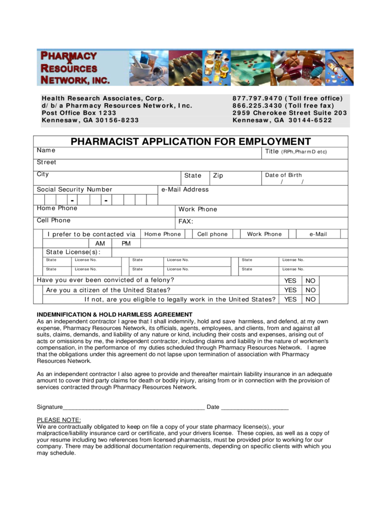 2019 pharmacy job appllication cv form